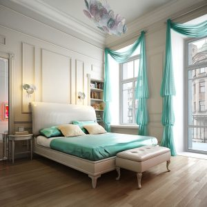 beauteous-neutral-bedroom-with-dazzling-aquamarine-window-curtain-decor-also-cool-unique-lamp-accessory-decor